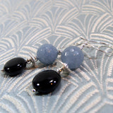 agate earrings handmade grey black semi-precious beads