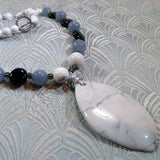 white howlite pendant necklace, handmade gemstone jewellery design