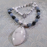 white howlite necklace with a pendant
