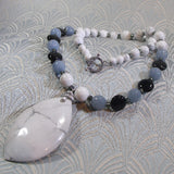 gemstone necklace handmade white howlite