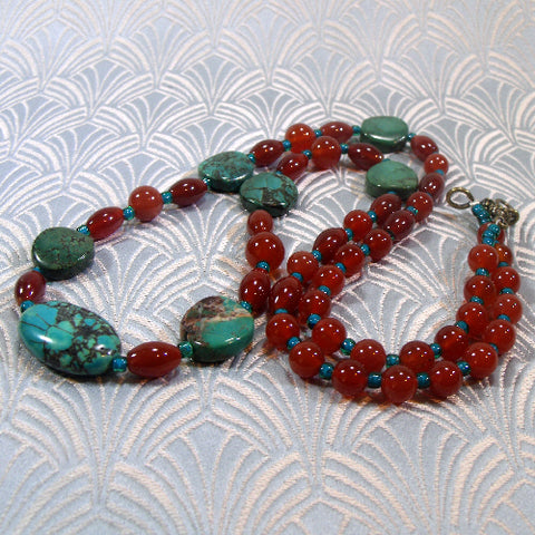 Long Turquoise Necklace, Long Semi-precious Stone Necklace (A100)