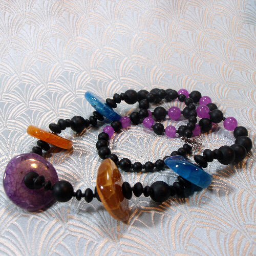 bright long semi-precious stone necklace, handmade gemstone necklace