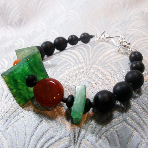 orange green bracelets, semi-precious gemstone jewellery uk