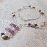 rose quartz necklace, semi-precious gemstone statement necklace