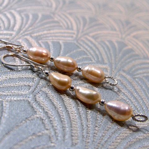 Cream Long Drop Pearl Earrings UK