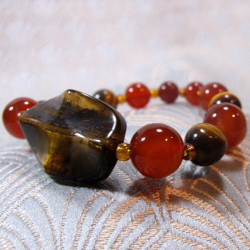 carnelian tigers eye bracelet, gemstone statement bracelet, semi-precious gemstone jewellery