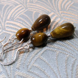 tigers eye semi-precious gemstone earrings