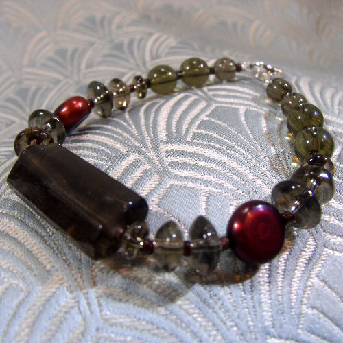 smoky quartz bracelet, unique gemstone jewellery, semi-precious stone bracelet