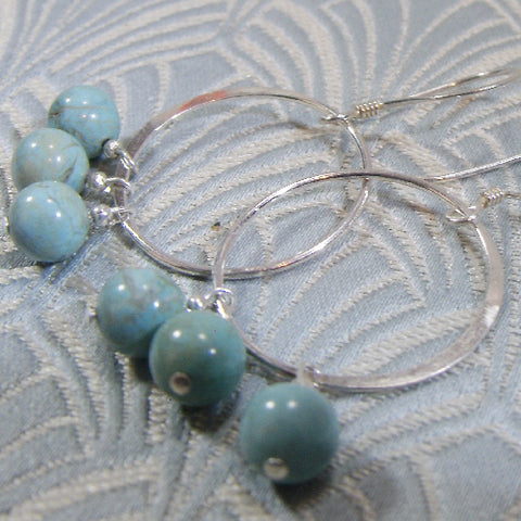 Semi-Precious Stone Earrings, Turquoise Gemstone Earrings (A62)