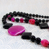 bright pink black gemstone beads