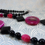 unique black pink long necklace