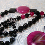 bright pink gemstone long necklace