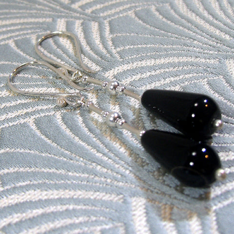 Long Drop Black Earring, Long Semi-precious Stone Earrings (A64)
