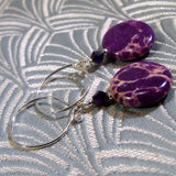 purple jasper earrings, semi-precious gemstone  jewellery, handmade gemstone earrings
