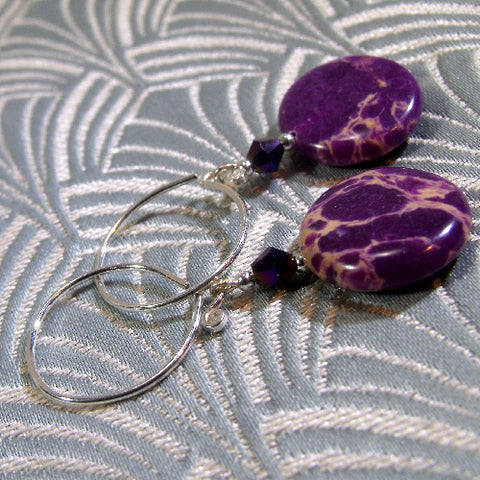 Semi-Precious Stone Earrings, Purple Jasper Gemstone Earrings (A65)