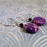 unique purple statement earrings