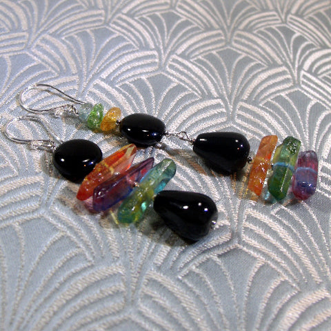 Long Statement Earrings, Long Semi-precious Stone Earrings (A66)