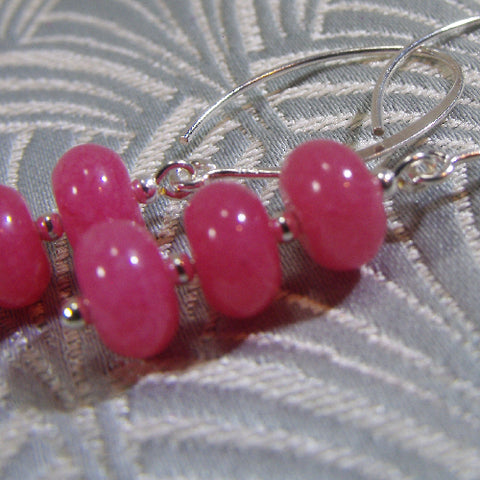Semi-Precious Stone Earrings, Pink Gemstone Earrings (70)