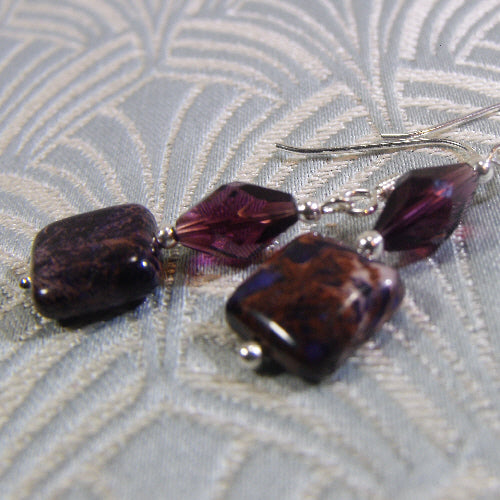 purple jasper earrings, unique gemstone earrings, semi-precious stone jewellery
