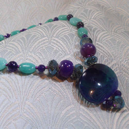 purple gemstone statement necklace, unique semi-precious stone necklace, handmade statement jewellery