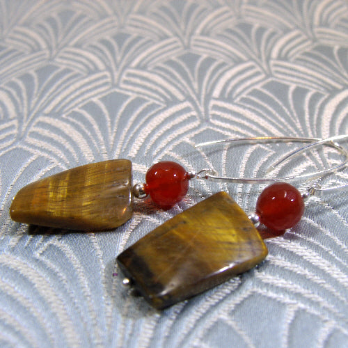 long tigers eye earrings, semi-precious stone earrings, gemstone statement jewellery