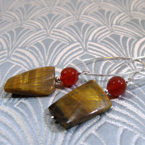 Long Semi-precious Stone Earrings, Long Drop Earrings (74)