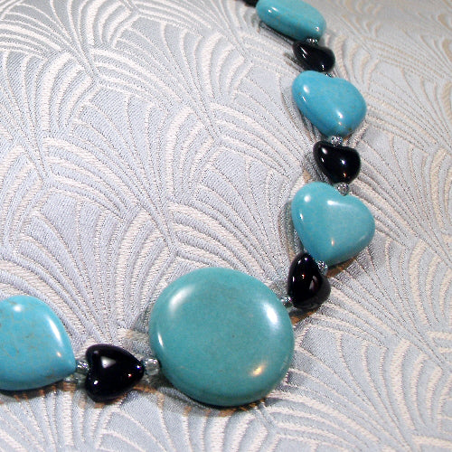 turquoise necklace, unique gemstone statement jewellery, semi-precious stone necklace