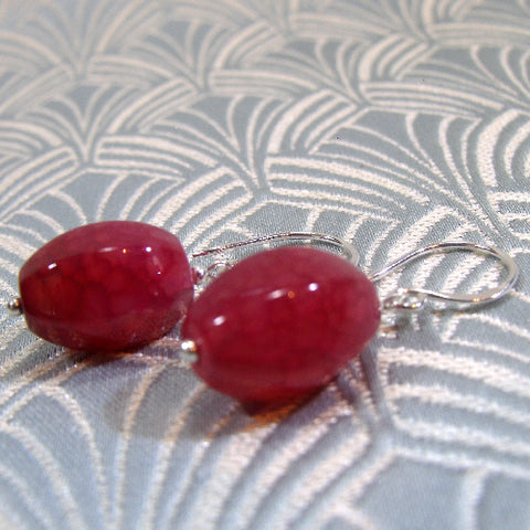 Semi-Precious Stone Earrings, Pink Gemstone Earrings (A76)
