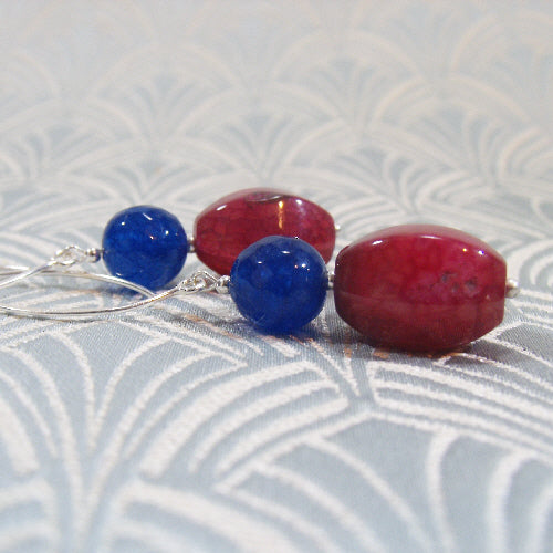 long pink blue earrings uk, unique long statement earring design, semi-precious gemstone jewellery uk