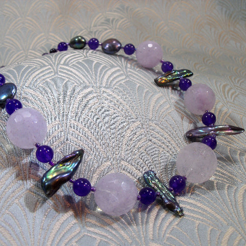 Semi-Precious Stone Necklace, Statement Necklace (A126)