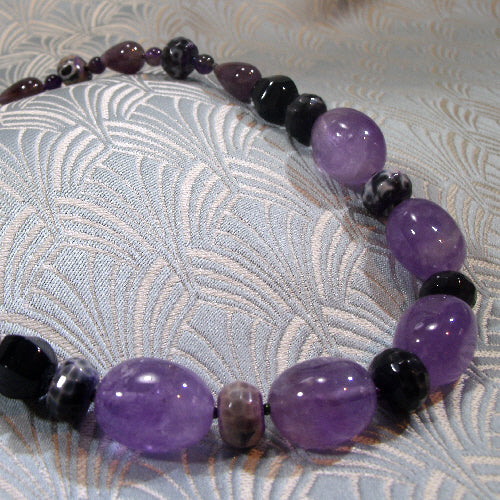 amethyst necklace, unique gemstone jewellery, semi-precious stone necklace