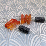 long black orange earrings