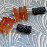 long black orange gemstone earrings