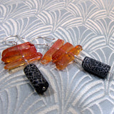 semi-precious stone black orange long earrings