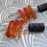 black orange statement earrings