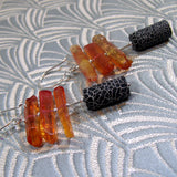 long black orange earrings, gemstone statement earrings, unique gemstone jewellery uk