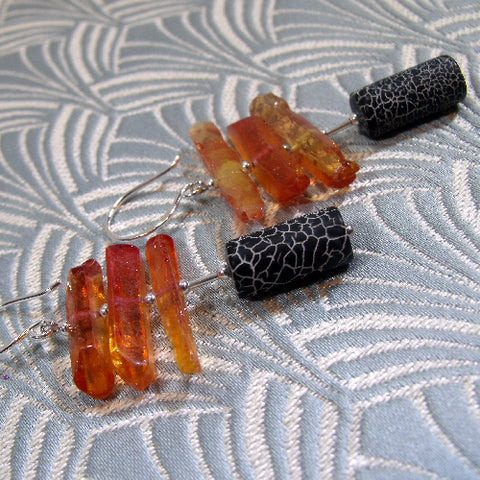 Long Black Orange Earrings, Semi-Precious Stone Earrings (A77)