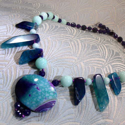 unique gemstone statement necklace, semi-precious stone jewellery