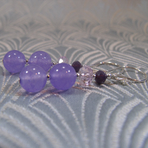 lilac earrings, unique handcrafted jewellery earrings, online jewellery sale