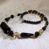 black onyx necklace set with crystal beads