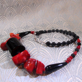 chunky red black necklace design