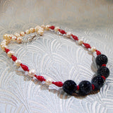 semi-precious bead and freshwater pearl necklace