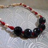 handmade agate and pearl necklace