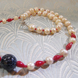 semi-precious stone necklace set with pearls
