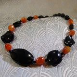 black orange semi-precious stone necklace