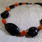 handmade black orange necklace semi-precious stones