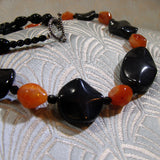 orange black semi-precious necklace