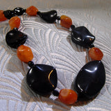 orange black handmade necklace