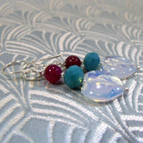 semi-precious heart drop earrings