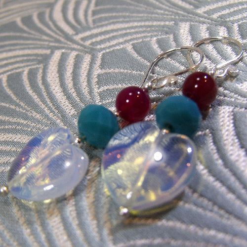 semi-precious heart errings, online jewellery sale uk, heart bead earrings